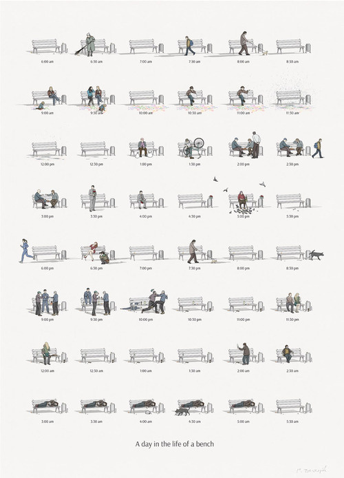 CJWHO ™ (A Day in the Life of a Bench by Maxim Degtyarev ...) #creative #design #bench #illustration #art