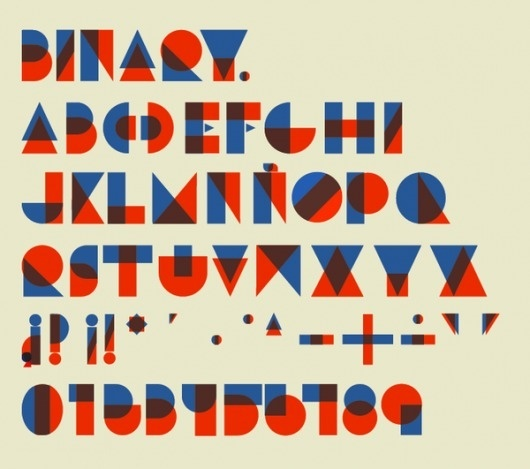 Binary type on Typography Served #type #overprint #blue #red