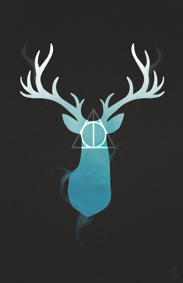 Harry Potter Stag + Deathly Hallows #deer #hp #harry #potter #deathly #stag #illustration #hallows #magic