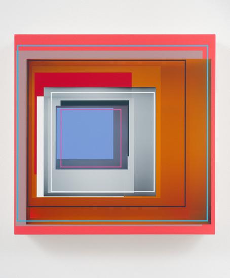 "Patrick Wilson, ""Orange Blossom"", 2011, Acrylic on canvas, 17"" x 17"" #geometric #art"