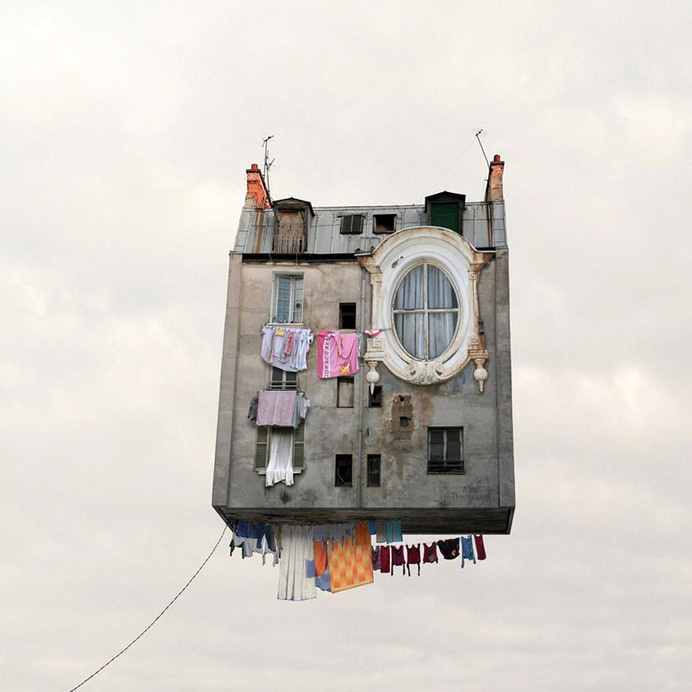 laurent chéhère's airborne architecture series sees french houses fly #floating