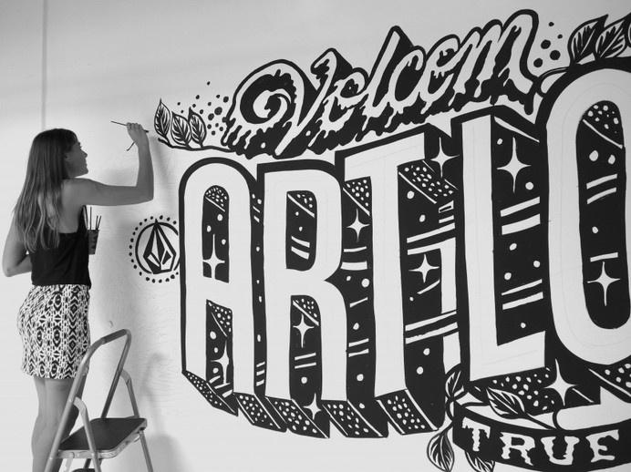Volcom costa mesa headquarters #white #black #wall #art #and #typography