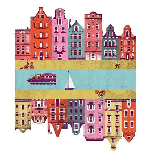 TypeToy (TypeToy.tumblr.com) #city #illustration #boat #bike #river #buildings