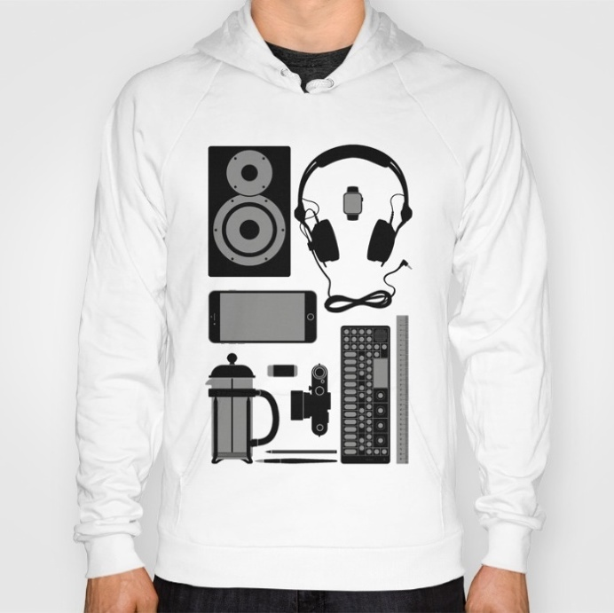 Objects Hoodie at Søciety6 #leica #vinylrecord #camera #speaker #headphones #op1 #frenchpress #applewatch #pencil #brush #rickardarvius