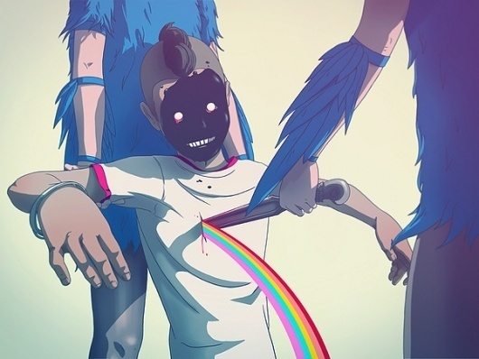 Random on the Behance Network #rainbow #illustration #knife #comics