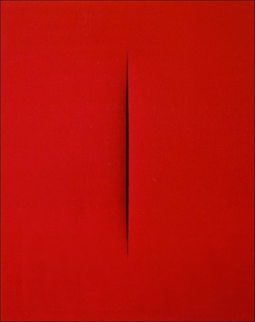 magnolius: Concetto Spaziale by the late Lucio Fontana (1965) He executes the first perforated canvasses in 1949, they all carry the title #slit #red #painting