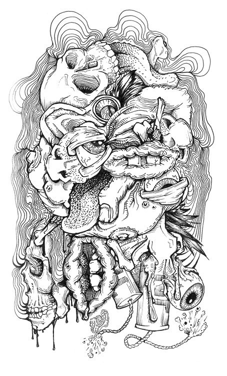 4 Notes/rHide #sketch #black and white #drawing #ink #cartoon #grotesque #body parts