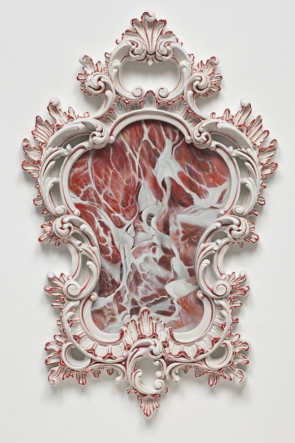 Victoria Reynolds Title: Couchon Verni, 2010 presented by Richard Heller Gallery #frame #sculpture #floral #meat #art