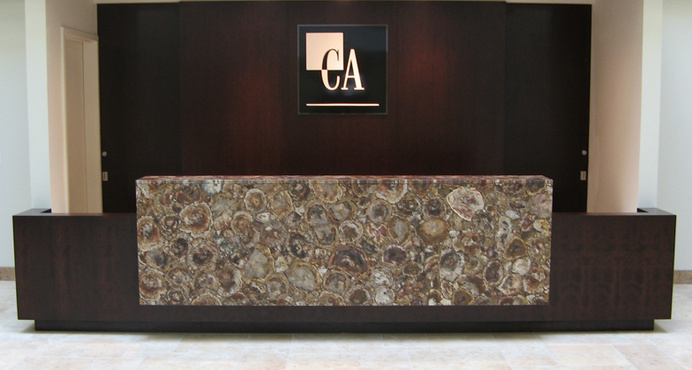 Caesarstone Petrified Wood #reception #desk