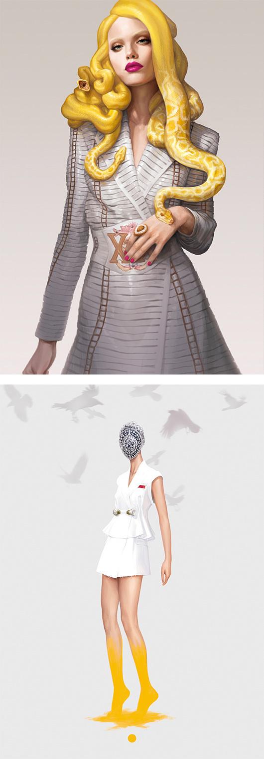 Fashion Illustrations by Ignasi Monreal | Inspiration Grid | Design Inspiration #fashion #medusa #yellow #snake