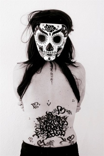 All sizes | Olivia | Flickr - Photo Sharing! #calligraphy #girl #rose #body #hair #back #tag #mask #hugh #dred