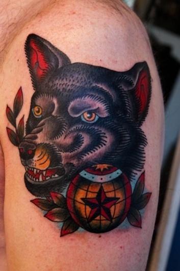 the Fabled White Buffalo co. >>>Bailey H. Robinson #globe #bailey #head #robinson #tattoo #wolf