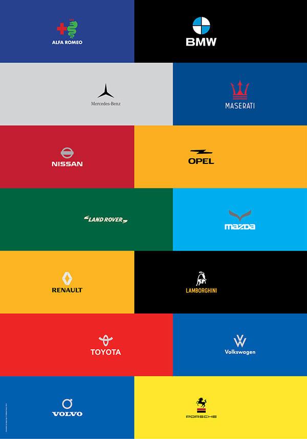 Minimalist car logo re-design on Behance #car #logo #redesign #re-design #minimal #minimalistic #brand #branding #alfa romeo #bmw #lancia #m