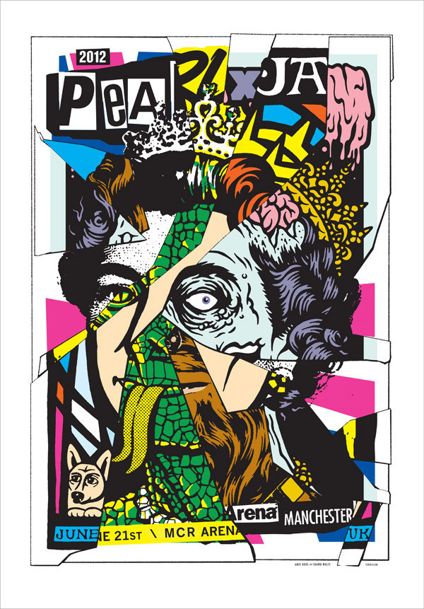 Pearl Jam Manchester, UK 2012 #jam #bros #ames #illustration #poster #pearl