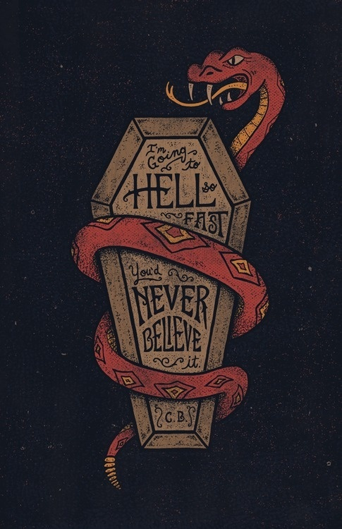 type lover:I'm going to…byEric Way #illustration #coffin #snake