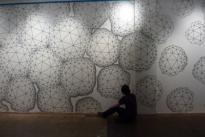 daedalsmith: Day one- drawing on Space's wall #geometry #fulker #wall #clint #drawing