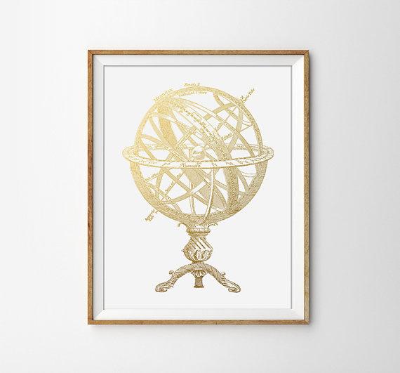 frame, globe, gold, print