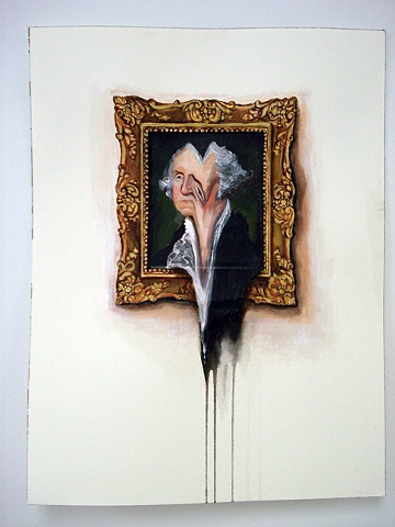 George Washington Portrait on Wall Melted (Work on Paper) #valerie #hegarty #painting