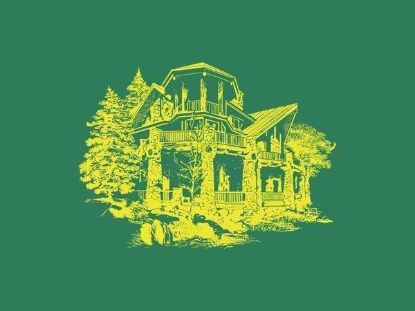 Fuzzco Retreat #line #house #tree #illustration #green