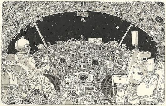 flight pattern   Flickr - Photo Sharing! #universe #sketchbook #illustration #handmade #moleskine #hand #sketch #starship