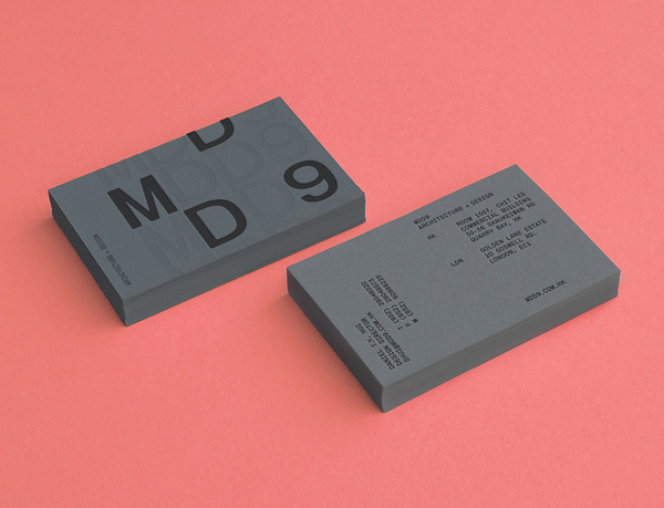 Logo and grey business card with blind deboss detail designed by Two Times Elliott for interior and architecture firm MDD9 #logo #business c