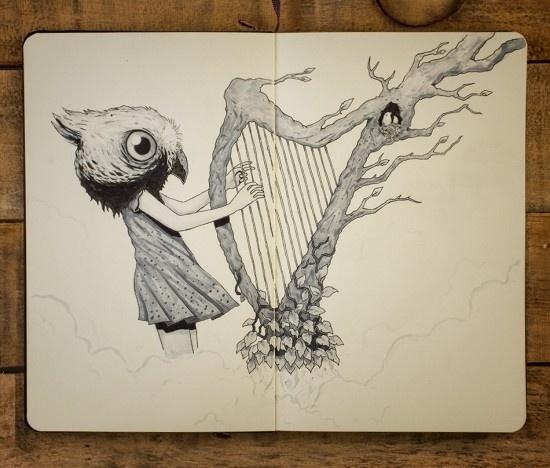 Sounds of the Forest - Moleskine sketch by Jorge Tirado :: milomonster.com #forest #harp #illustration #moleskine #music #surreal #drawing #sketch