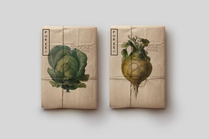 Puree branding & packaging by Studio Ahamed #logo #vegetable #clean #illustration #old look