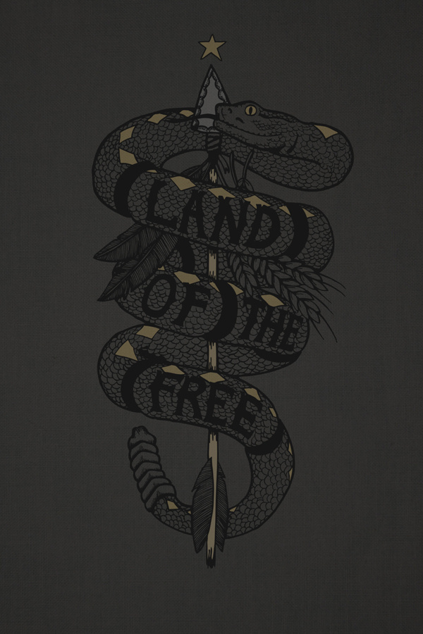 Land of the Free #lettering #feather #snake #illustration #nature #arrow #america