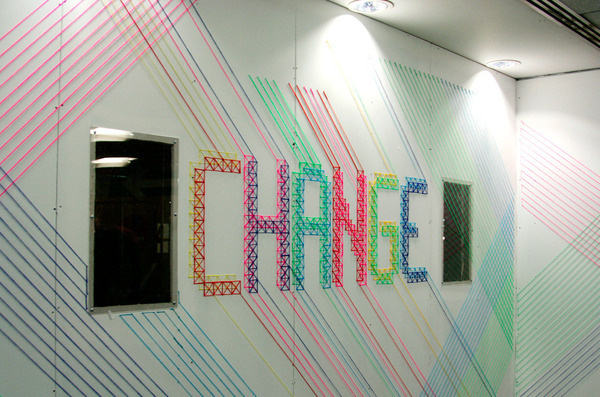 CHANGE for BBH London Evelin Kasikov – CMYK embroidery and Typographic Design – London #craft #design