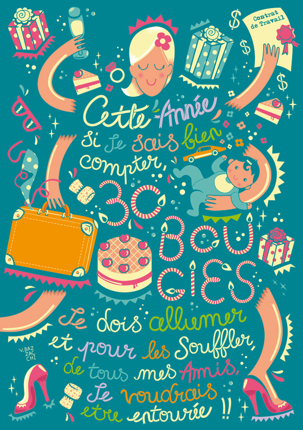 Marjorie's 30th Birthday on Behance #illustration