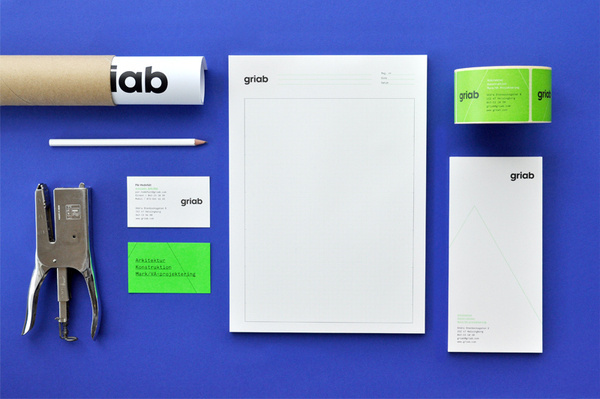 Logo and stationery with fluorescent green print treatment for architecture and engineering firm Griab designed by Kollor #print #identity