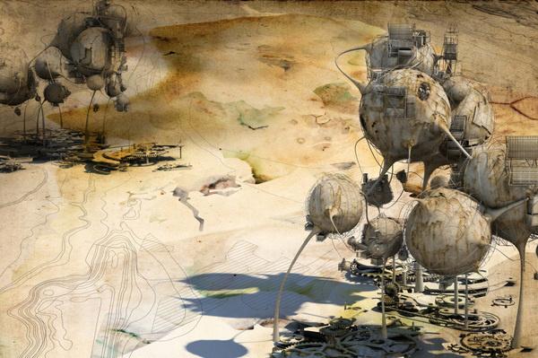 Quarantena series by Robert Scott Gilson #design #futuristic #sci #map #fi #landscape #illustration #topography #surreal