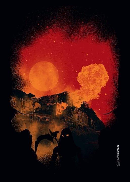 The Assassin #assassin #doom #print #war #night #fire #poster #dark #skull #death #moon