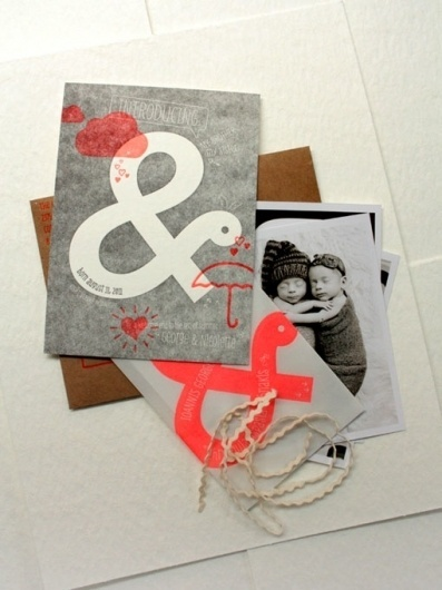 Design Work Life » Print In Cursive: Twin Birth Announcements #modern #design #graphic #letterpress #announcement