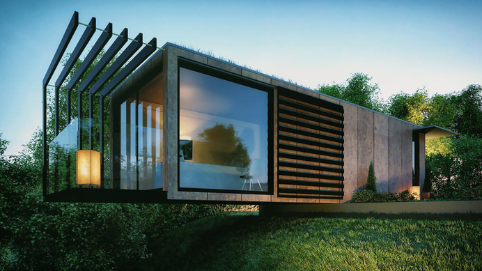 patrick bradley designs cantilevered shipping container office #office