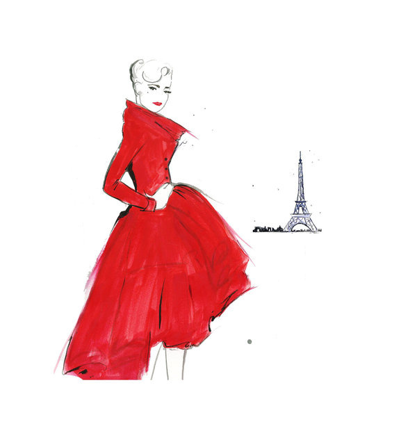 Watercolor Fashion Illustration Dior and Paris print #acuarela #illustration #watercolor #woman