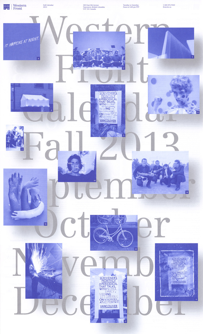 The 2013 edition of Western Front's events calendars.