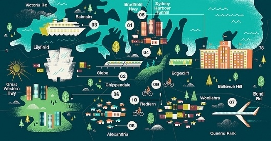 Monocle - Sydney Map | Flickr - Photo Sharing! #sydney #map #illustration #inphography #monocle