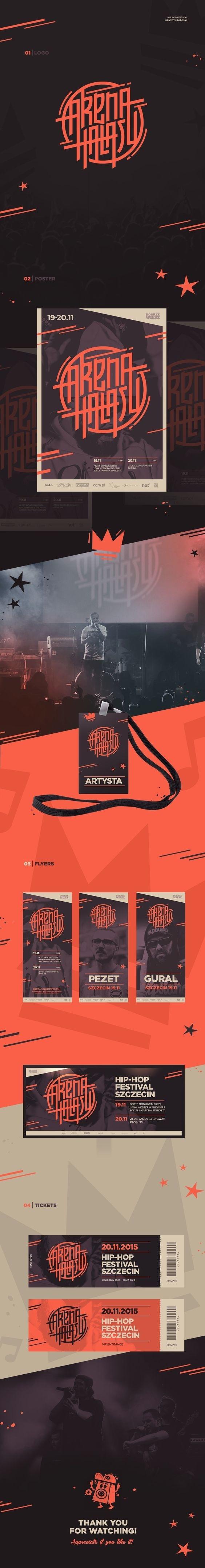 Arena Hałasu hip-hop festival Branding by Piotr Kubicki