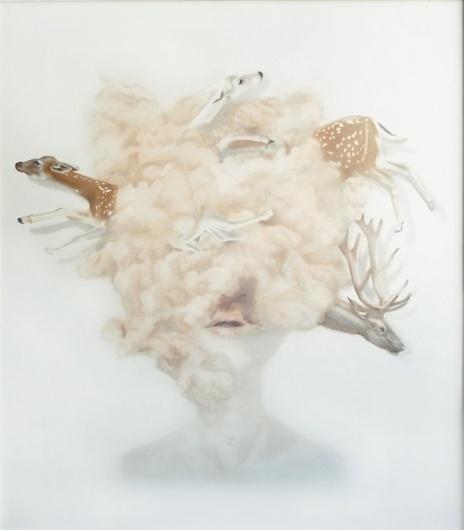 lakormis/merve morkoç   painting #woman #cloud #merve #dust #morkoc #painting #art #lakormis #animal