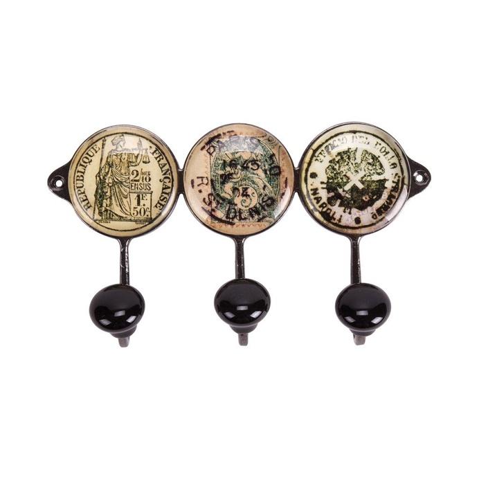 Tudor Style Wall Hooks, Set of 3, 15.5cm x 9cm x 4cm