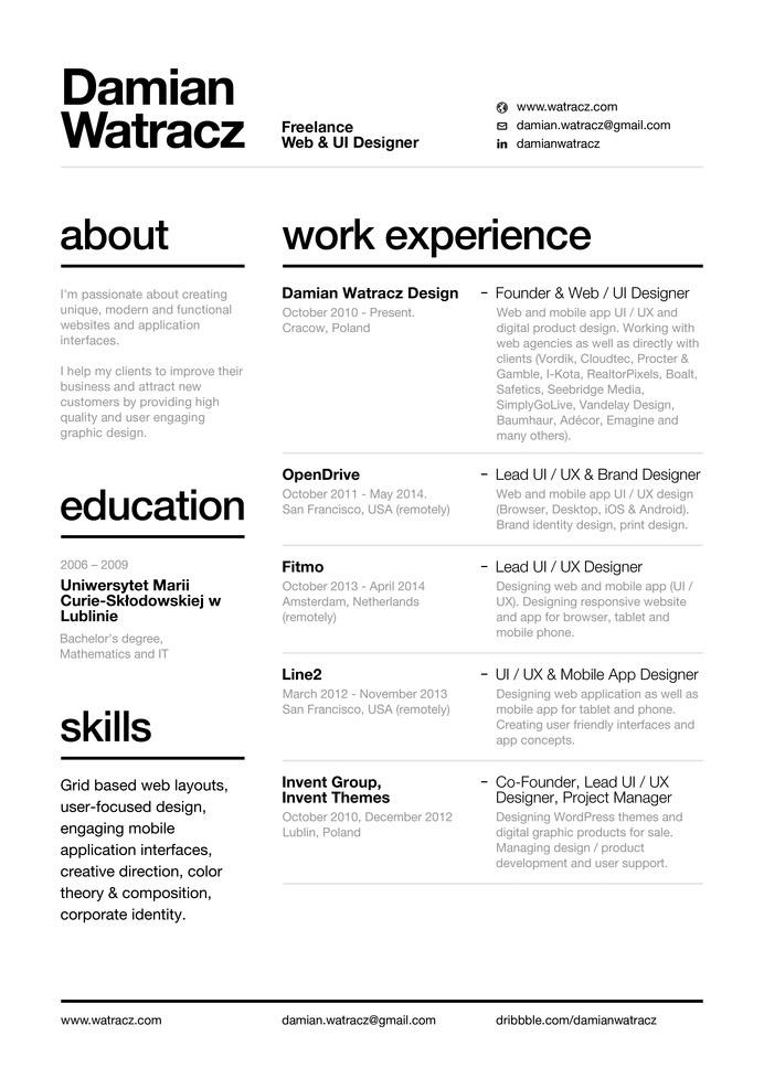 swiss style resume 2014 by damian watracz - Style Of Resume