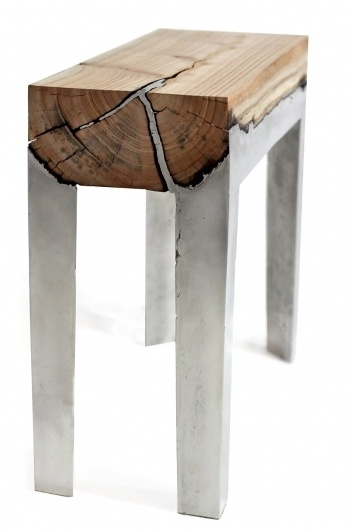Wood Stools Cast in Aluminum | WANKEN - The Art & Design blog of Shelby White #wood #furniture #aluminum #stool
