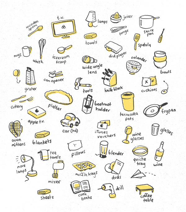 Dave Coleman #yellow #icons #black #illustration #drawn #hand #humor