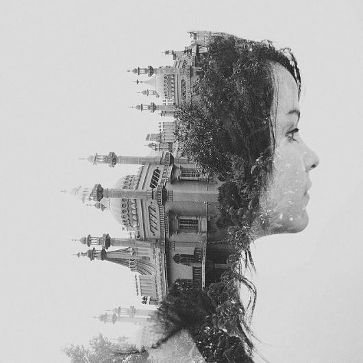 Double exposure // Val // Royal Pavilion, Brighton | Flickr - Photo Sharing! #monochrome #illustration #photography #portrait