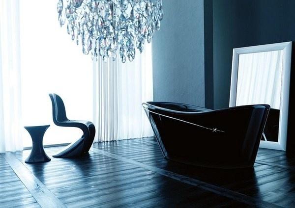 Modern black art bathtub with Swarovski crystals #artistic #bathroom #furniture #art #bathtub