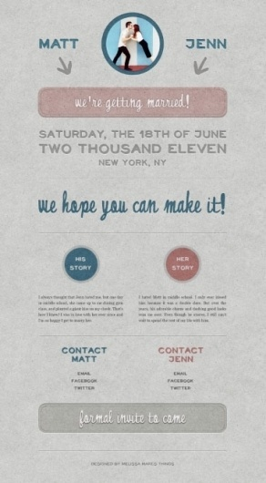 Notebook | Melissa Makes Things – Graphic Design | Page 9 #invitation #pink #blue #wedding #grey