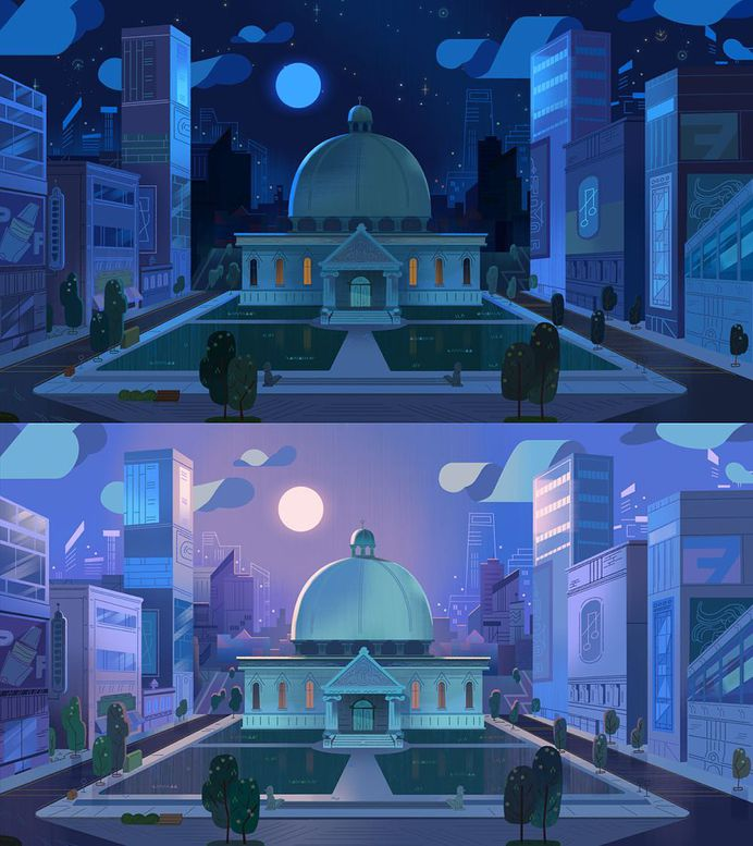 Townsville city hall at night/morning from an episode of PPG that I got to colorscript. Layout by Carrie Hobson #cartoonnetwork #powerpuffgirls #painting