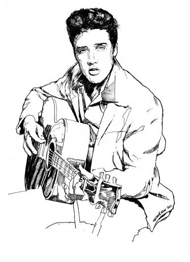 Elvis_002.jpg 640×883 pixels #blues #guitar #white #elvis #presley #rock #black #illustration #roll #king