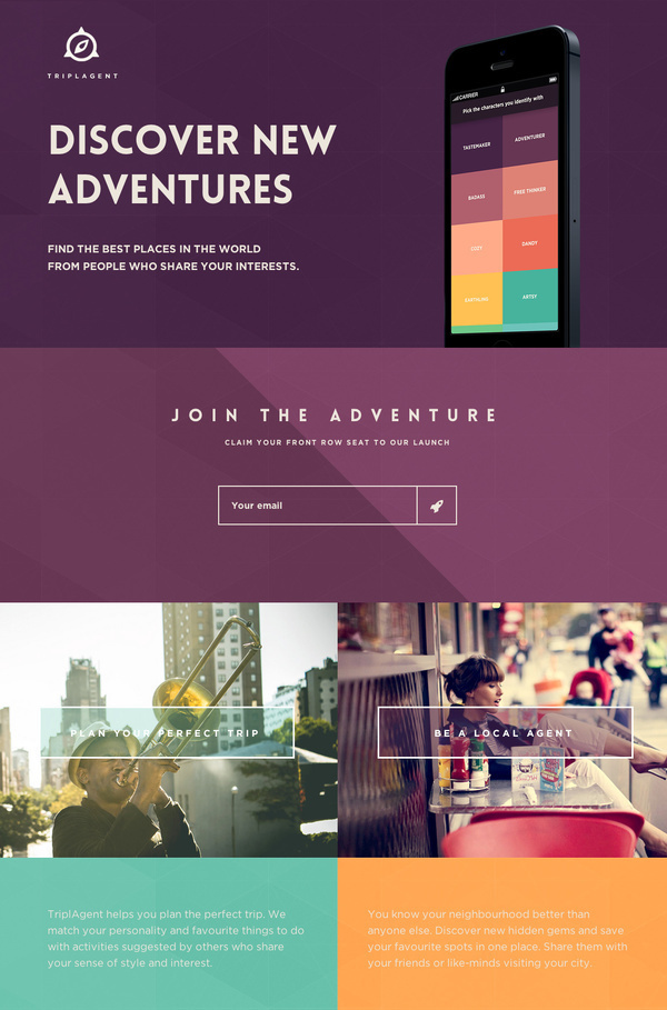 TriplAgent - Your world is out there.Find the best places in the world from people who share your interests. #flat #travel #ui #clean #colorful